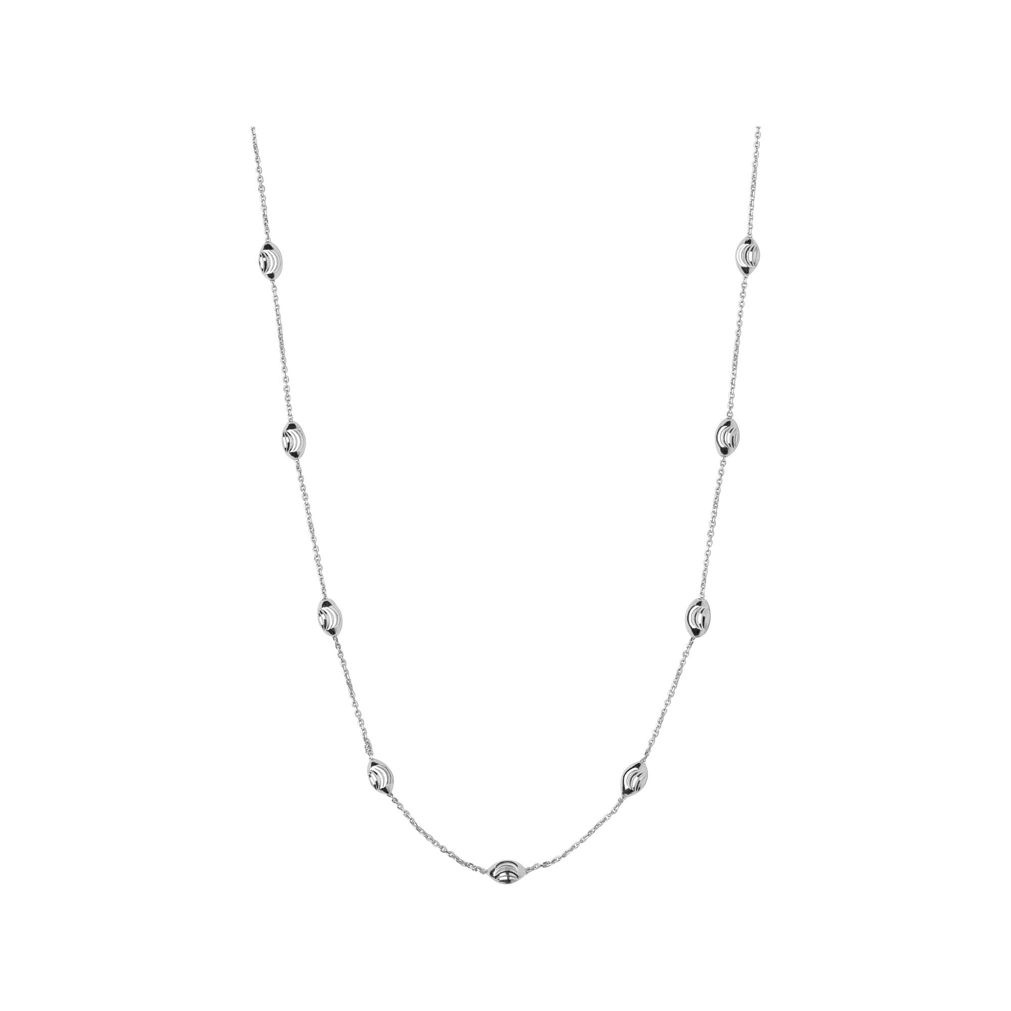 Essentials Sterling Silver Beaded Chain 80cm Hires