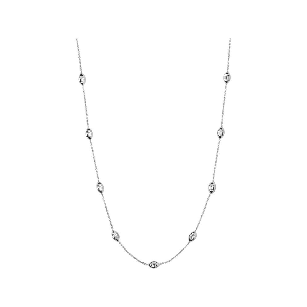 Essentials Sterling Silver Beaded Chain 80cm, , hires