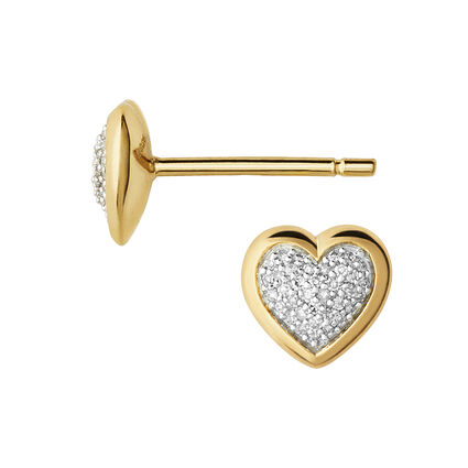 Diamond Essentials 18kt Yellow Gold Vermeil & Pave Heart Stud Earrings, , hires