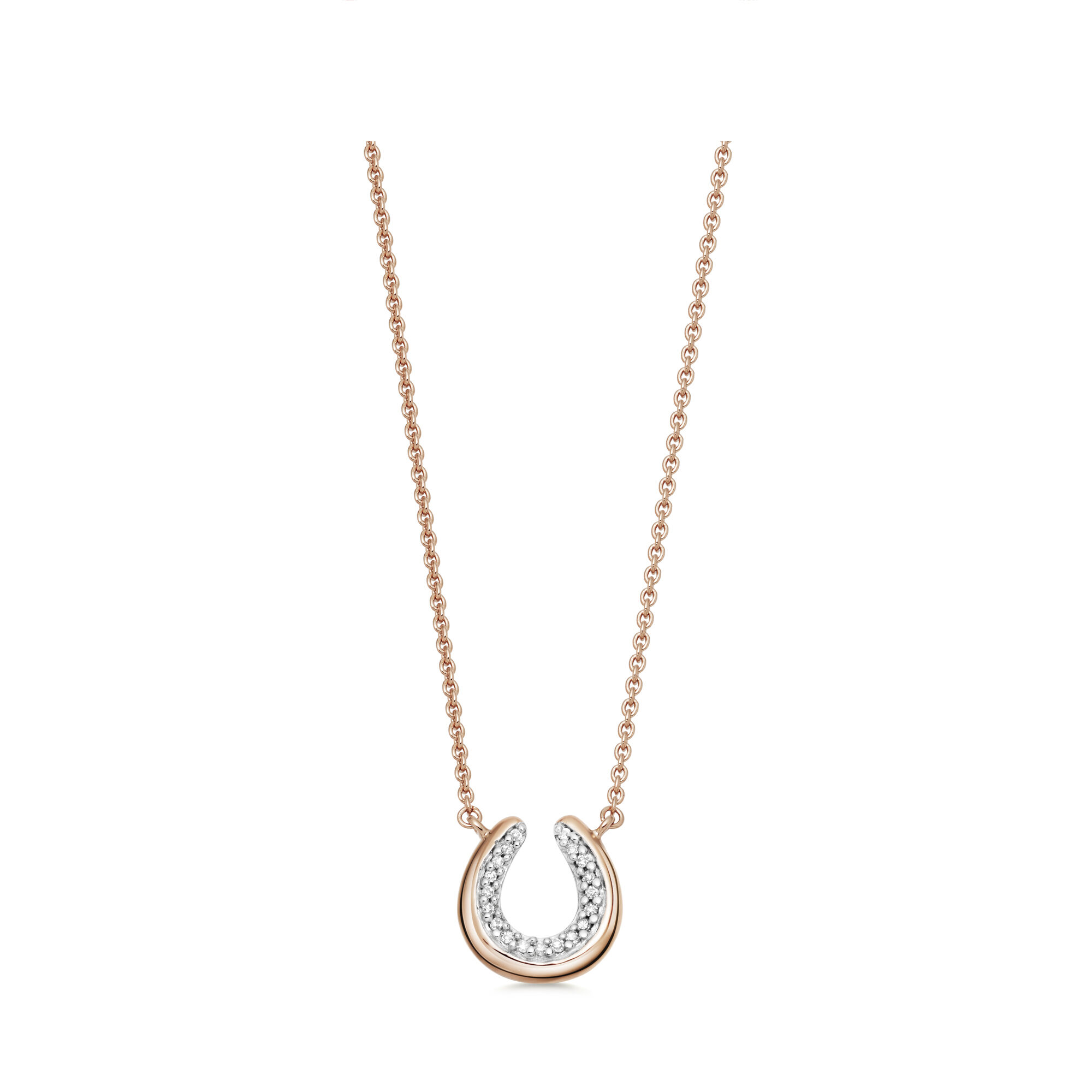 sterling pave filled with necklace choker silver collections rose gold product bead horse shoe diamond horseshoe oxidized