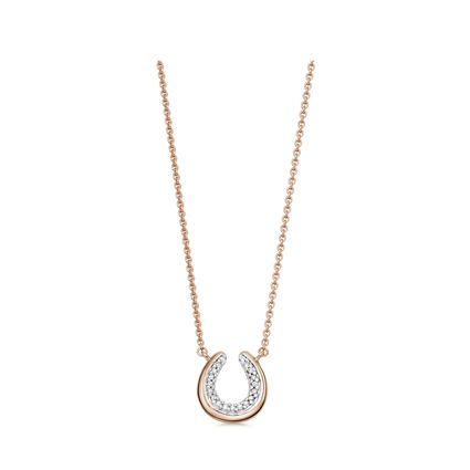 Diamond Essentials 18K Rose Gold Vermeil Horseshoe Necklace, , hires