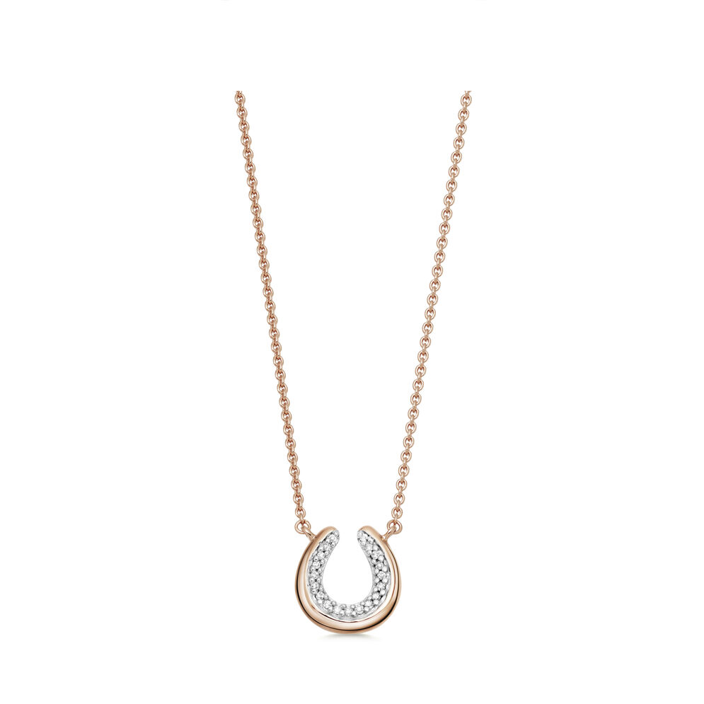 Ascot Diamond Essentials 18kt Rose Gold Vermeil Horseshoe Necklace, , hires