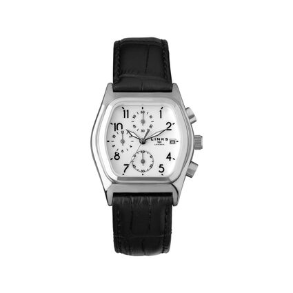 Limited Edition Sterling Silver and Black Leather Chronograph Watch, , hires