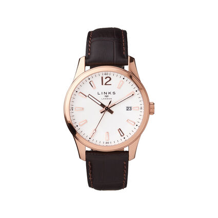 Greenwich Noon Mens Rose Gold Tone & Brown Leather Watch, , hires