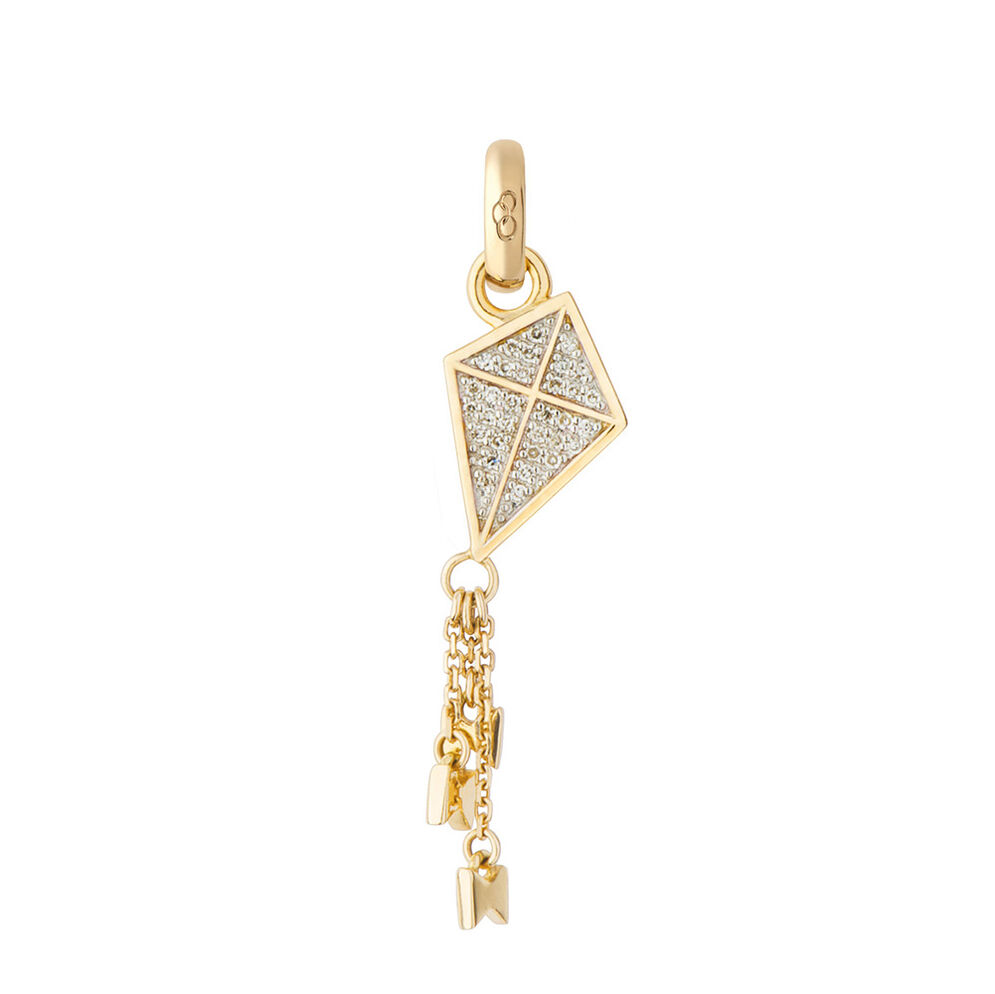 18Ct Gold & Diamond Kite Charm - Follow Your Dreams, , hires