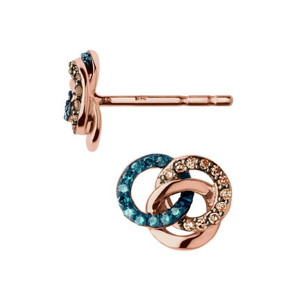Treasured 18kt Rose Gold Vermeil, Champagne & Blue Diamond Stud Earrings, , hires