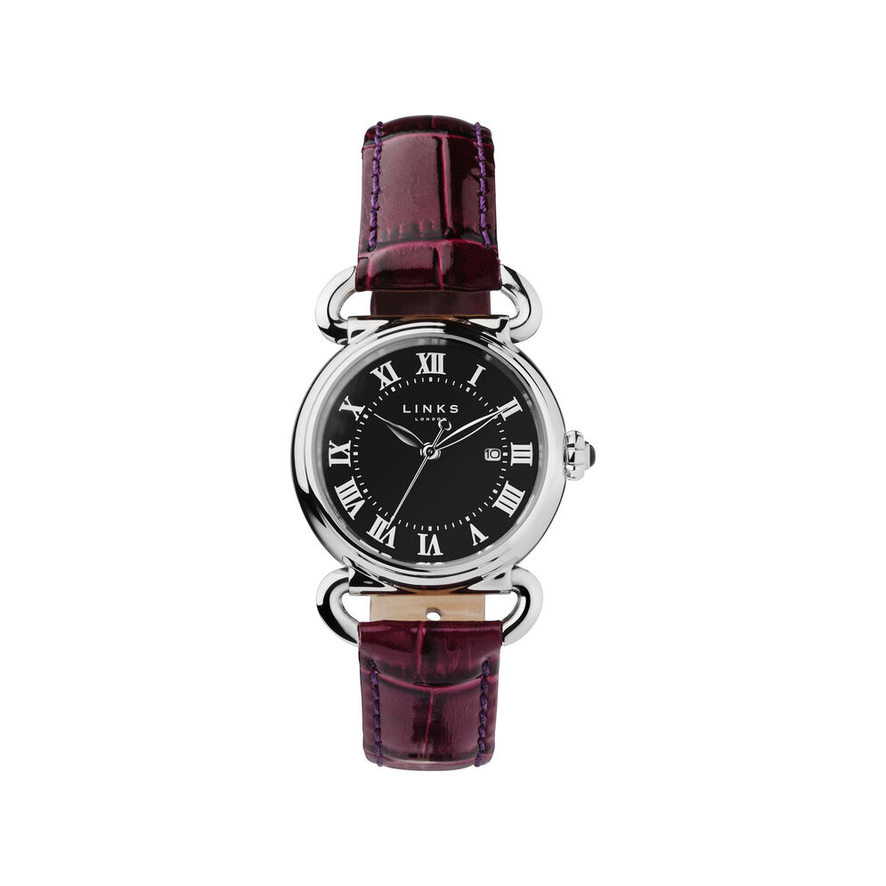 Driver Round Womens Stainless Steel Purple Leather Watch, , hires