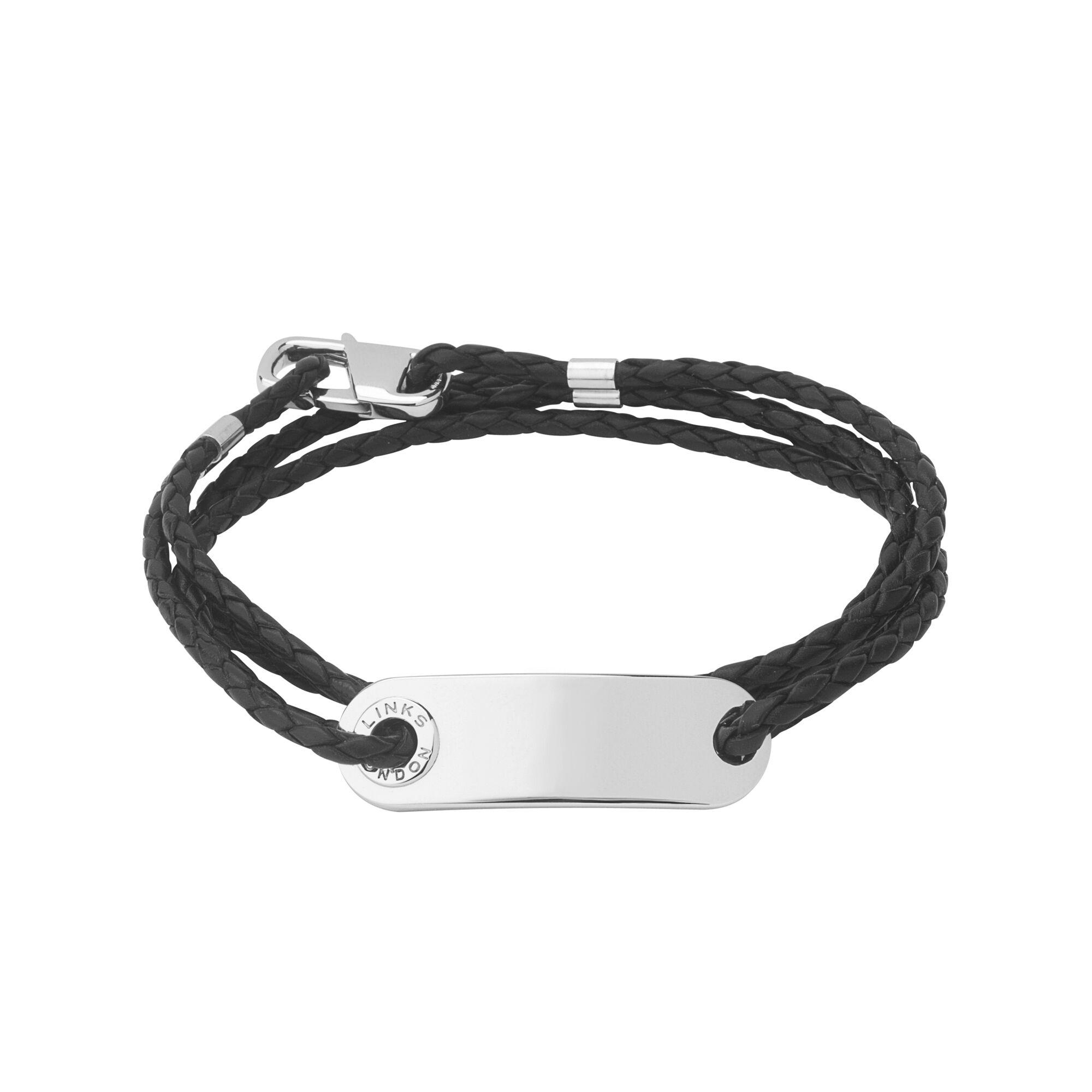 Venture mens black leather bracelet men bracelets links of london - Soho Mens Id Bracelet With Leather Cord Hires