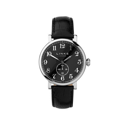 Greenwich Mens Black Dial Stainless Steel & Black Leather Watch, , hires