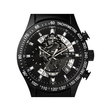 Skeleton Black Leather Chronograph Watch, , hires