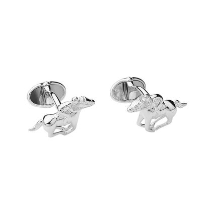 Ascot Sterling Silver Racehorse & Jockey Cufflinks, , hires