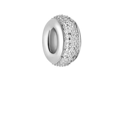 Sweetie Sterling Silver & White Diamond Pave Rondelle Bead, , hires