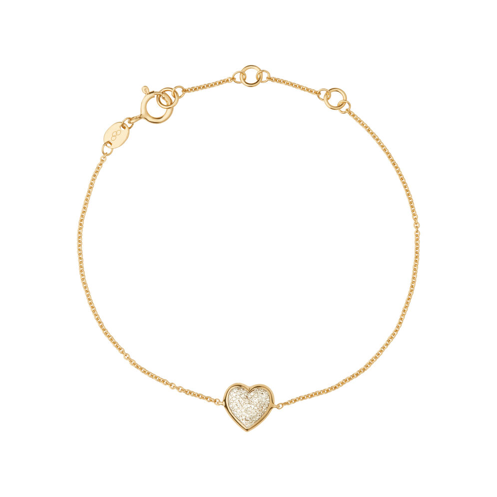 Diamond Essentials 18kt Yellow Gold Vermeil & Pave Heart Bracelet, , hires