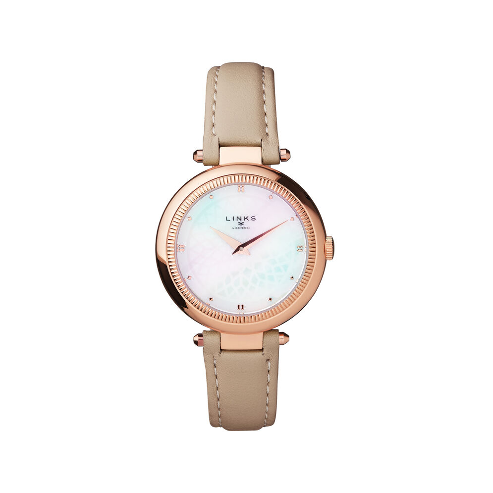 Timeless Rose Gold Tone, Mother of Pearl & Grey Leather Watch, , hires