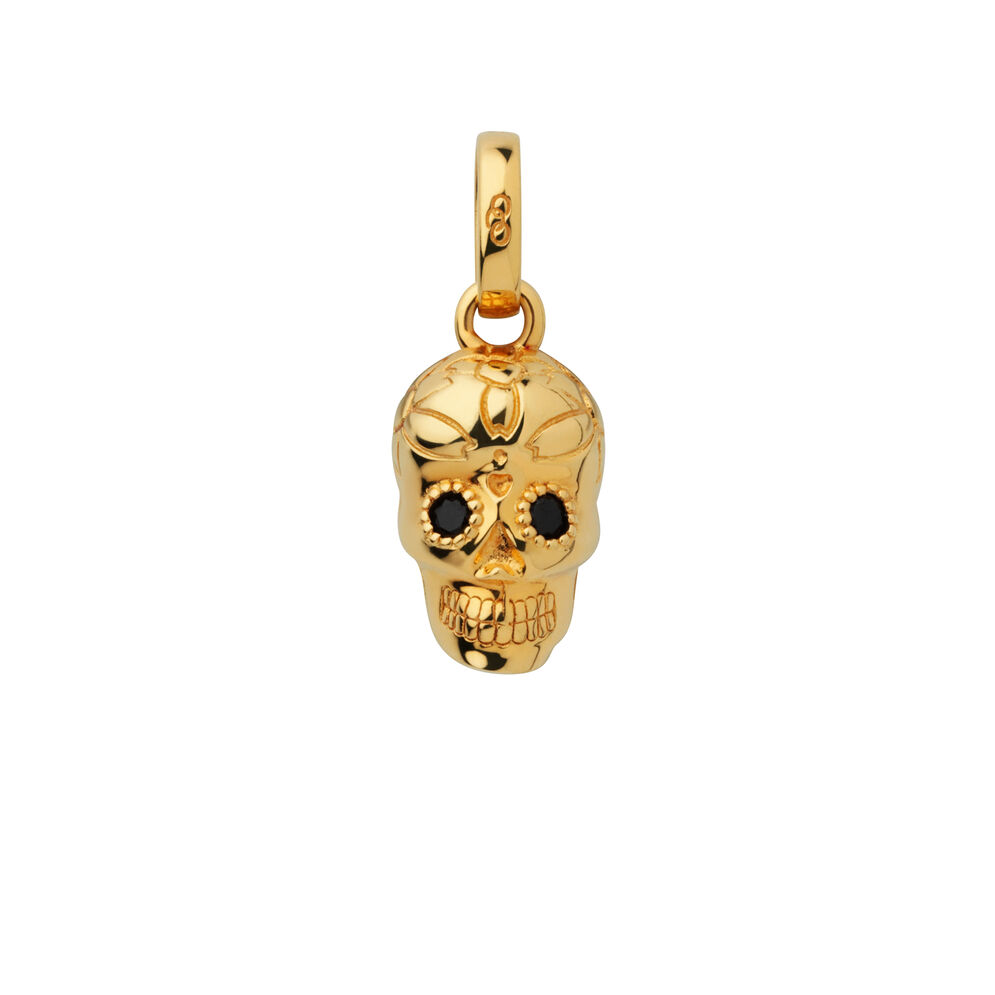 18kt Yellow Gold Vermeil & Sapphire Halloween Skull Charm, , hires