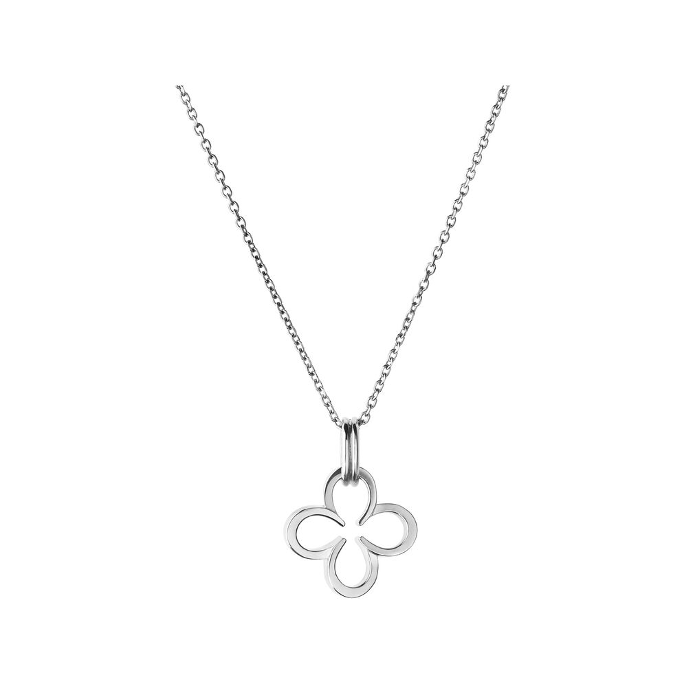 lucky en silver detail sterling necklace