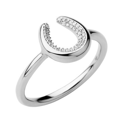 Ascot Diamond Essentials Sterling Silver Horseshoe Ring, , hires