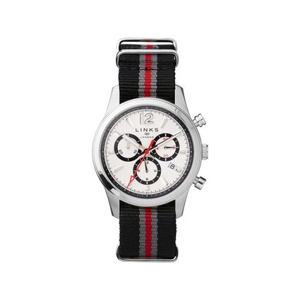 Greenwich Noon Mens Stainless Steel Chronograph Black Leather Watch, , hires