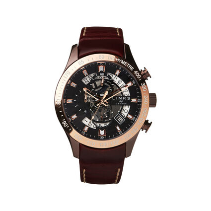 Skeleton Rose Gold Tone & Brown Leather Chronograph Watch, , hires