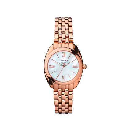 Bloomsbury Womens Oval Rose Gold Plated Bracelet Watch, , hires