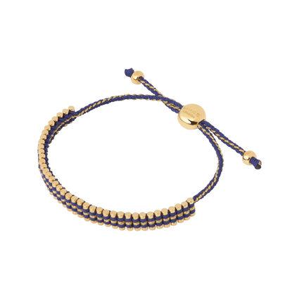 18kt Yellow Gold Vermeil & Navy Cord Mini Friendship Bracelet, , hires