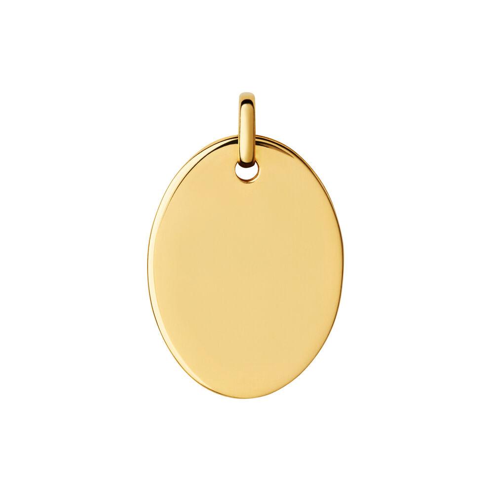 Narrative 18ct Yellow Gold Vermeil Large Oval Disc Pendant, , hires