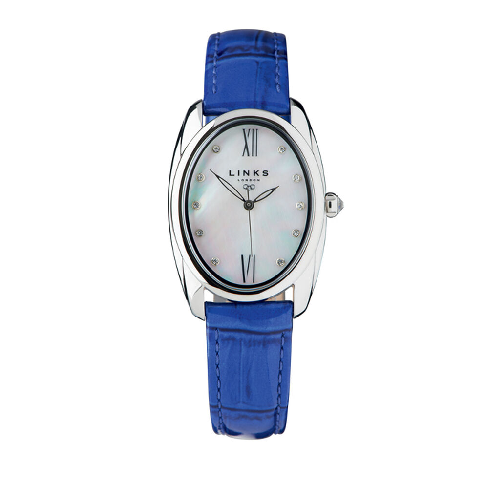 Bloomsbury Womens Oval Stainless Steel & Blue Leather Watch, , hires