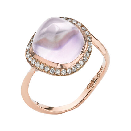 Rose Gold Infinite Love Pink Amethyst Ring, , hires