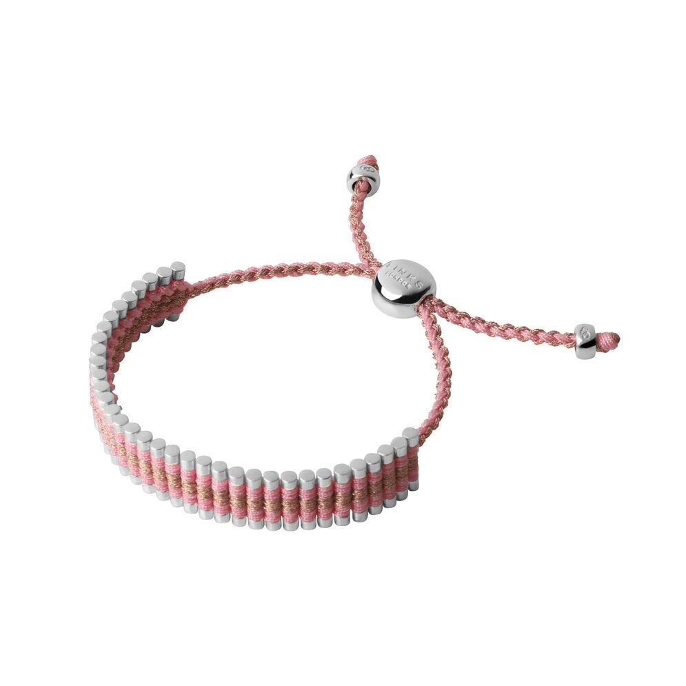 Sterling Silver, Pink & Copper Glitter Friendship Bracelet, , hires