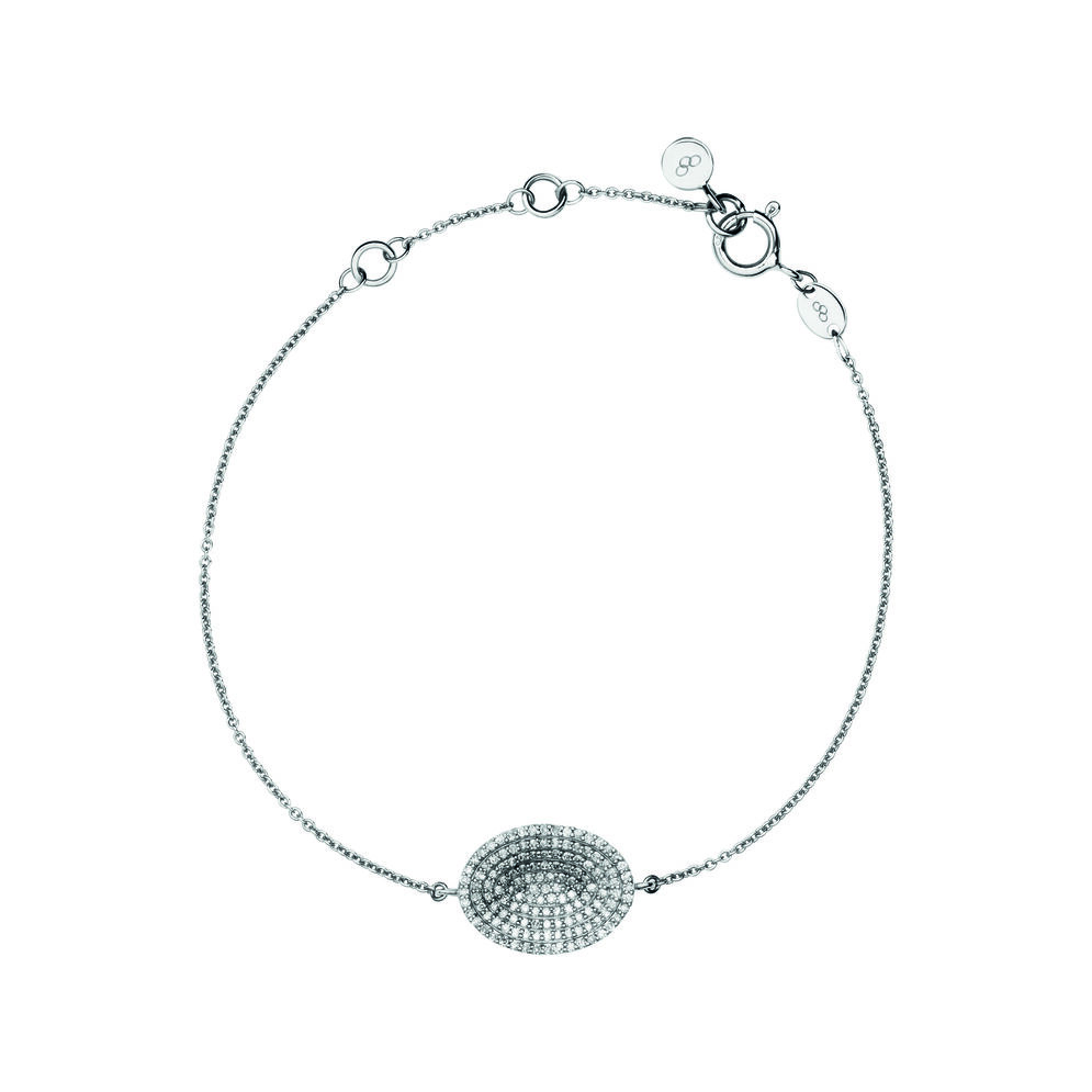 Concave Sterling Silver & Diamond Bracelet, , hires