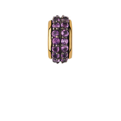 Sweetie 18kt Yellow Gold Vermeil & Amethyst Pave Bead, , hires