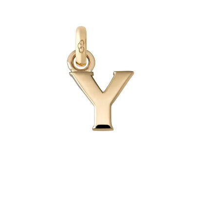 18kt Yellow Gold Letter Y Charm, , hires