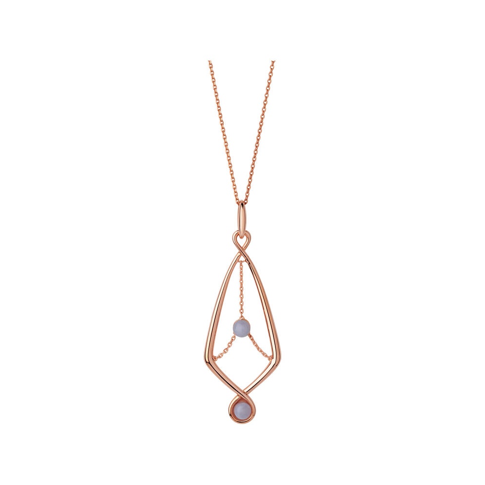 Serpentine 18kt Rose Gold Vermeil & Blue Lace Agate Gemstone Pendant Necklace, , hires