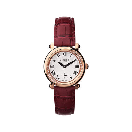 Kindred Soul Stainless Steel Red Leather Watch, , hires