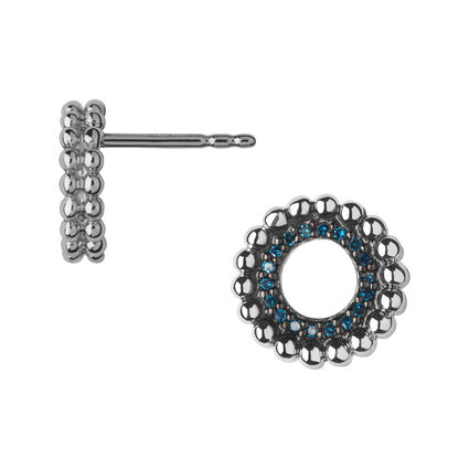Effervescence Sterling Silver & Blue Diamond Stud Earrings, , hires