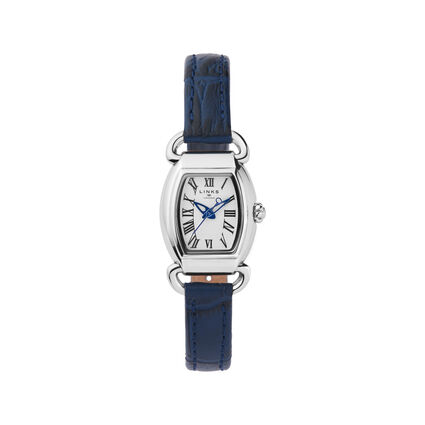 Driver Mini Tonneau Stainless Steel & Blue Leather Watch, , hires