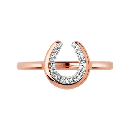 Ascot Diamond Essentials 18kt Rose Gold Vermeil Horseshoe Ring, , hires