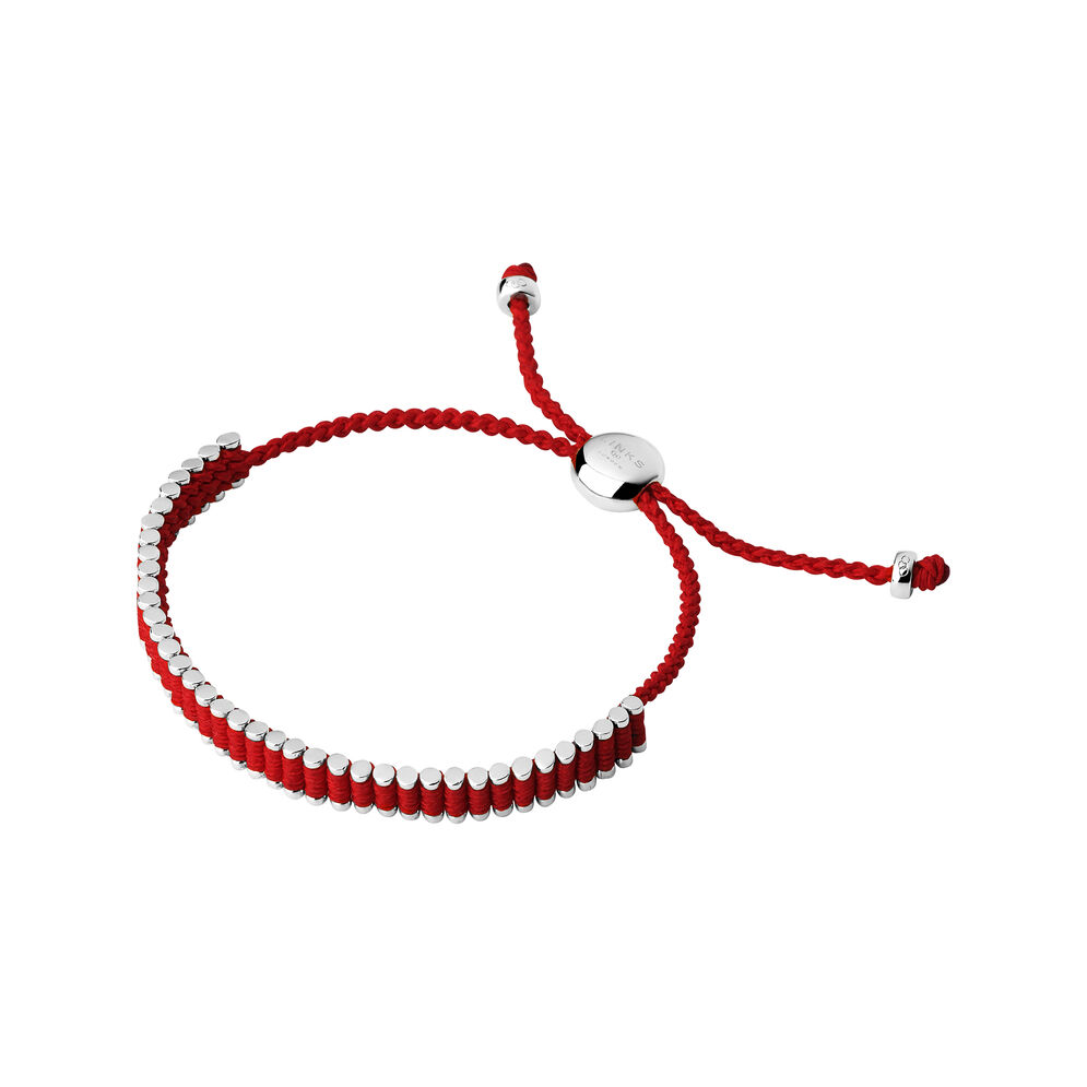 Sterling Silver & Ruby Red Mini Friendship Bracelet, , hires