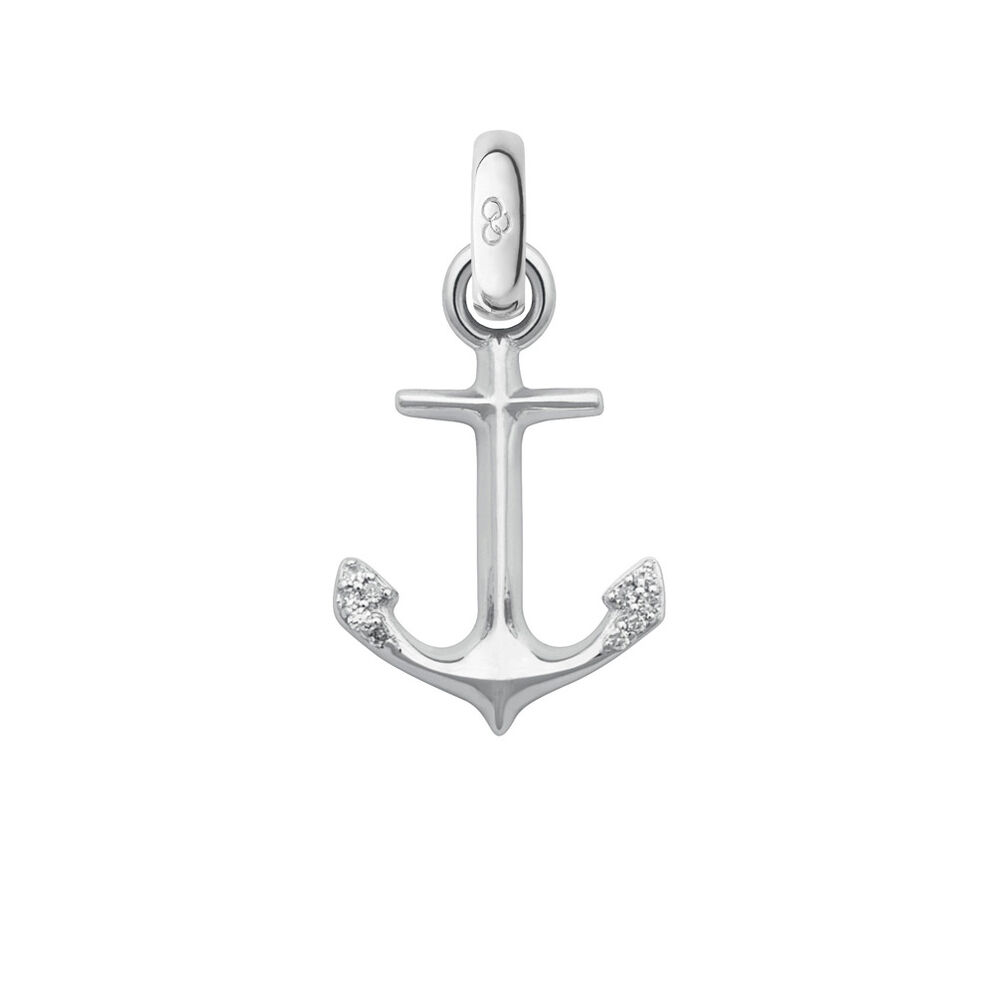 18ct White Gold & Diamond Anchor of Hope Charm, , hires
