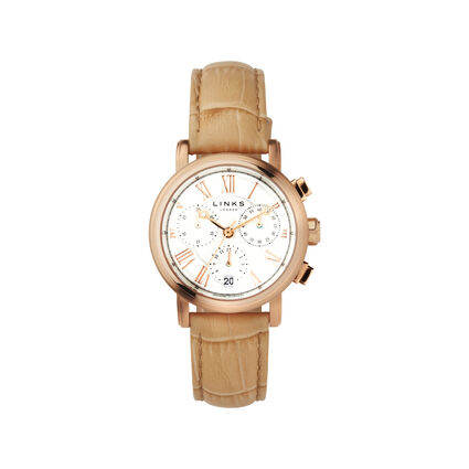 Richmond Womens Rose Gold Plate & Beige leather Chronograph Watch, , hires
