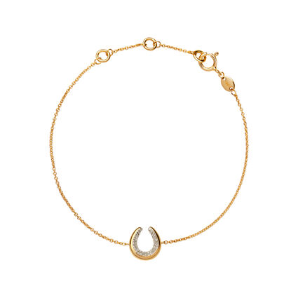 Diamond Essentials 18K Yellow Gold Vermeil Horseshoe Bracelet, , hires