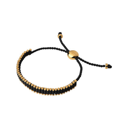 18kt Yellow Gold Vermeil & Black Mini Links of London Friendship Bracelet , , hires