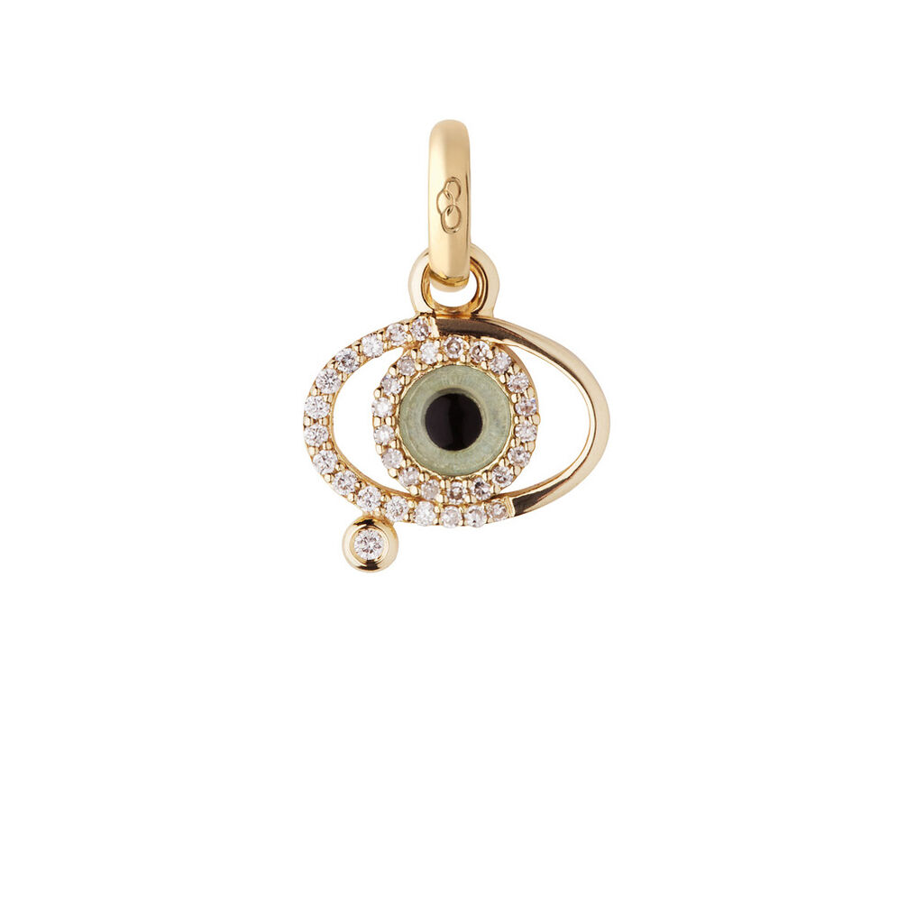 18kt Yellow Gold & Diamond Evil Eye Charm, , hires