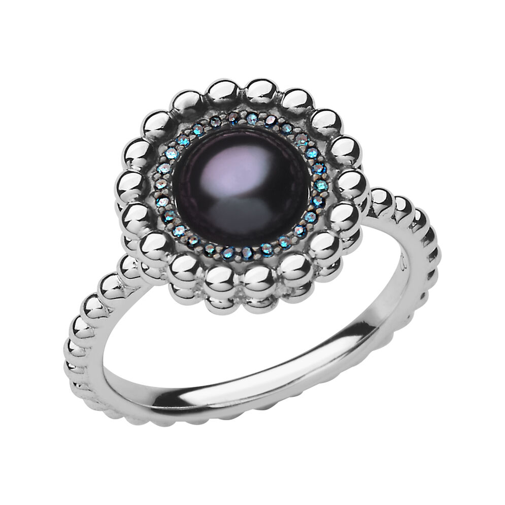 Effervescence Sterling Silver, Blue Diamond & Pearl Ring, , hires