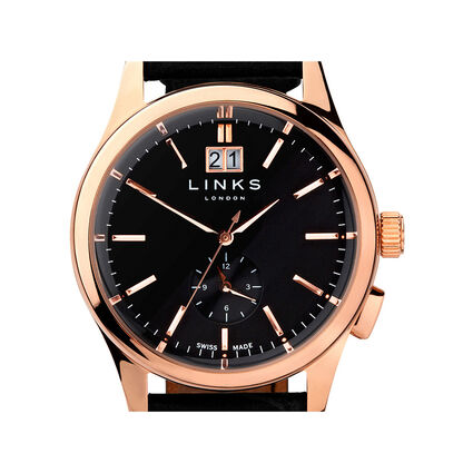 Regent Mens Black Dial Rose Gold Plate Black Leather Watch, , hires