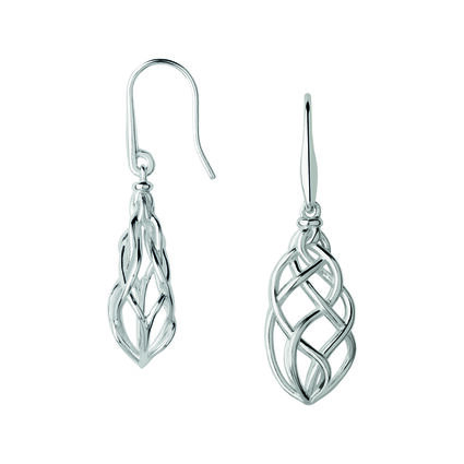 Sterling Silver Woven Drop Earrings, , hires