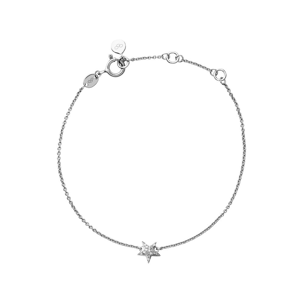 Diamond Essentials Sterling Silver & White Pave Star Bracelet, , hires