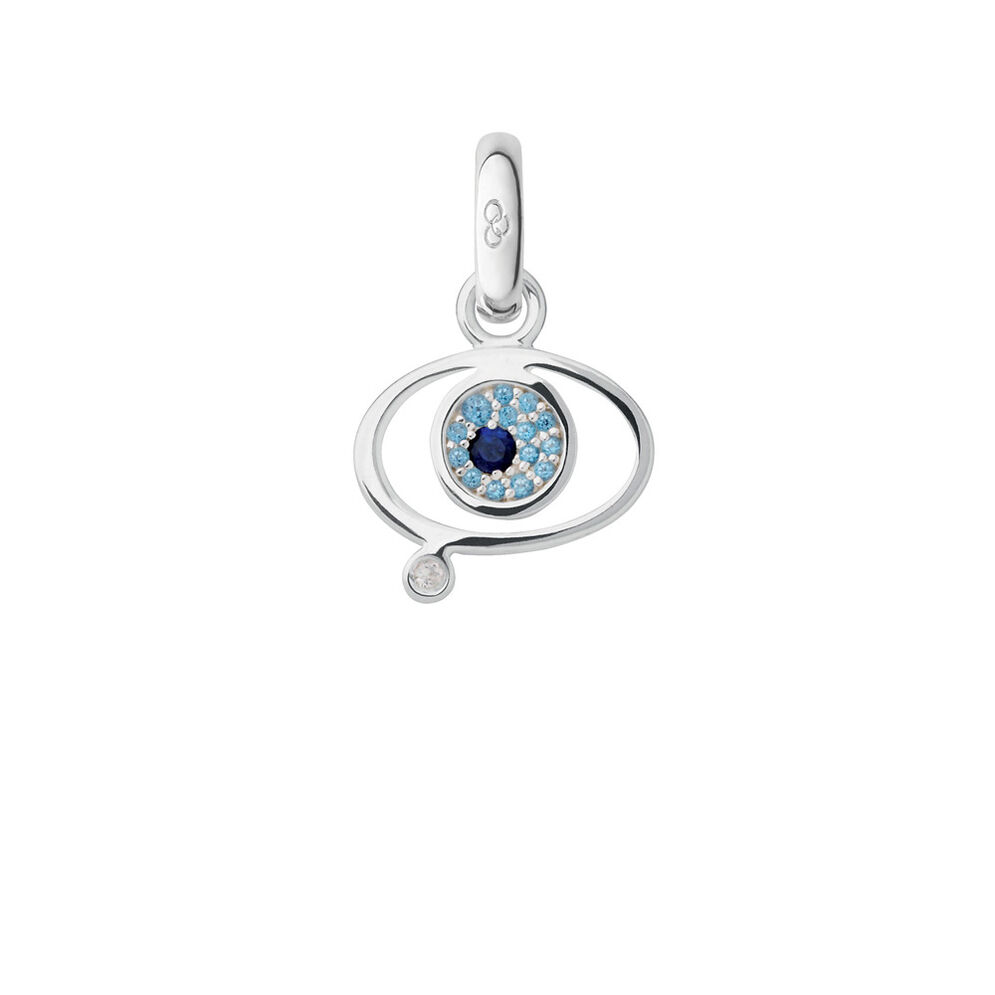 Sterling Silver Sapphire & Blue Topaz Evil Eye Charm, , hires