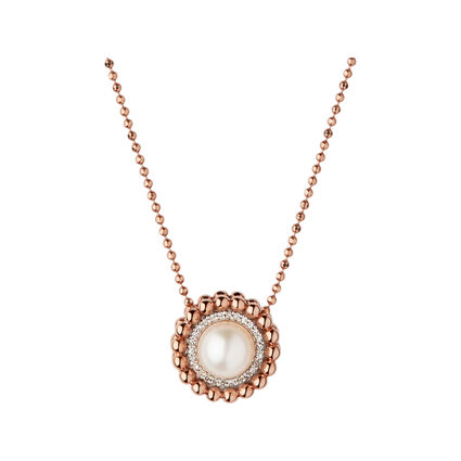 Effervescence 18ct Rose Gold, Diamond & Pearl Necklace, , hires