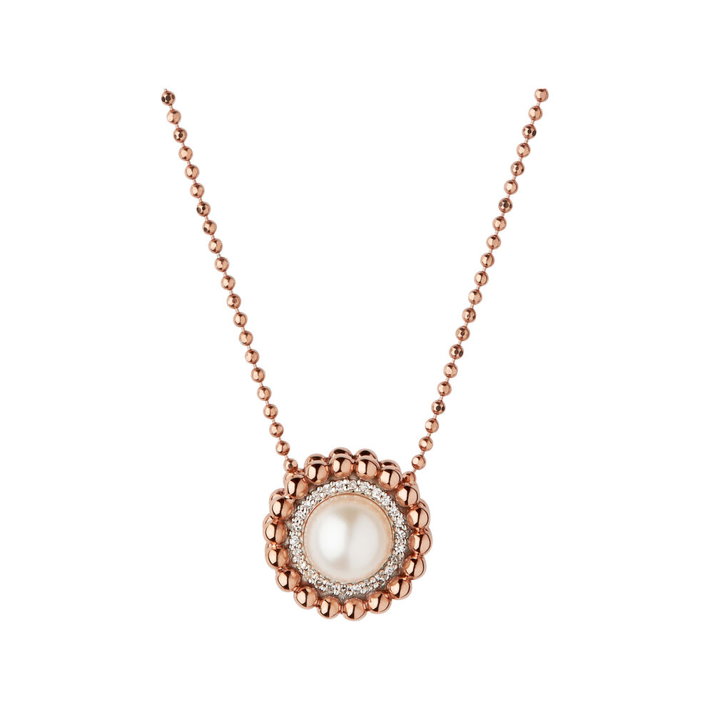Effervescence rose gold diamond pearl necklace links of london effervescence 18kt rose gold diamond amp pearl necklace hires mozeypictures Choice Image